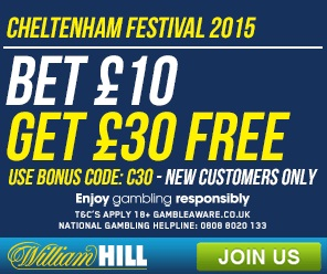 William Hill Launch Cheltenham Offer 2015